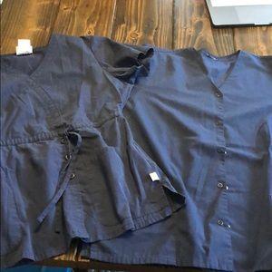 2 navy blue Medium scrub tops